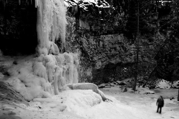 Troll Falls in the winter. Kananaskis, Alberta